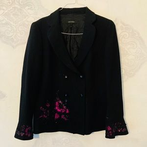 Escada Black Jacket w/ Pink Accents Size 44 US 14
